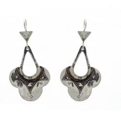 Boucles d'oreilles touareg fleur en argent ciselé