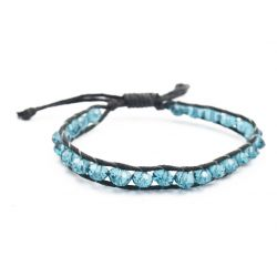 Bracelet perles de cristal bleu et fil noir