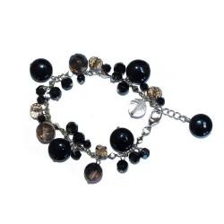 Bracelet, chaine argentée et perles en verre teinté et poli
