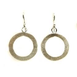 Boucles d'oreilles cercle en argent brossé