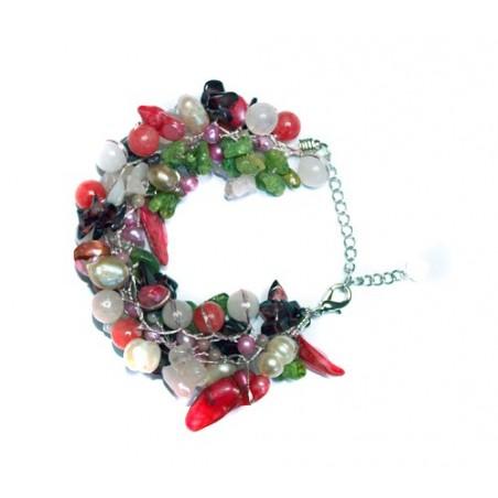 Bracelet fantaisie quartz et différentes pierres naturelles